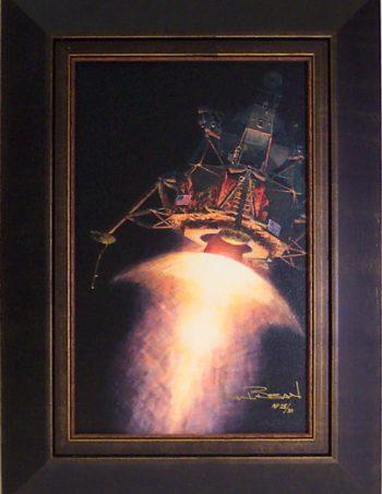 Armstron, Aldrin and an American Eagle by Alan Bean  framed AP giclee canvas