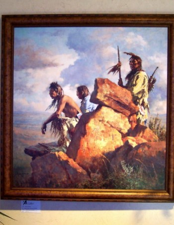 Among the Spirits of the Long Ago People by Howard Terpning, a framed giclee canvas