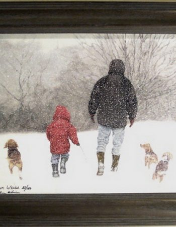 Beagle Buddies by John Weiss, framed giclee canvas