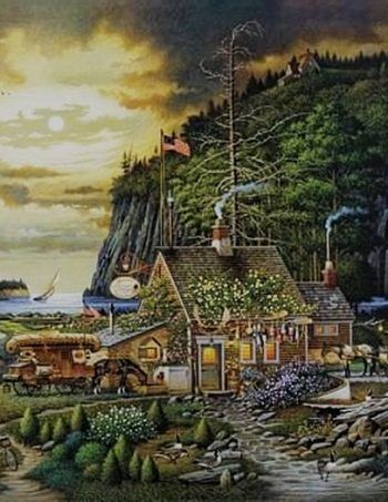 Moonlight & Roses in Olde Maine by Charles Wysocki