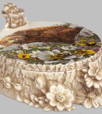 Bugged Bear porcelain by Bev Doolittle