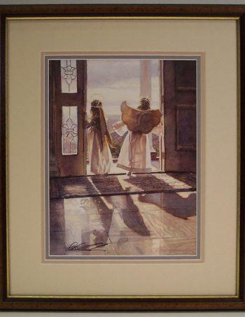 Angels Out the Door by Steve Hanks, signed print, conservation framed