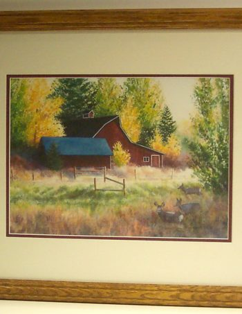 Autumn Visitors by Barbara Moore framed